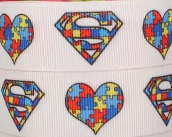 Autism Awareness Puzzle Piece Heart & Superman Ensignia 7/8 inch Grosgrain Ribbon