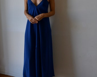 Blue backless dress. Long strappy maxidress, low back dress. Royal blue, cerulean. Party, cocktail, prom dress. One size fits many.