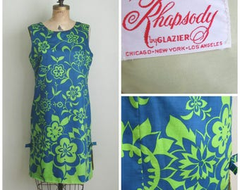 Vintage 1960's Summer Shift Dress// Cotton// Blue-Green// Rhapsody// XL