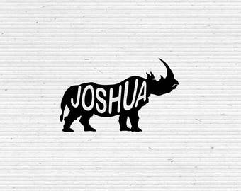Personalized Rhinoceros Silhouette Name Stamp