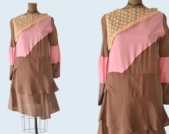 1920s Pink and Brown Silk Flapper Dress size S