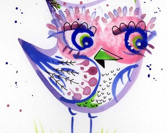 Pink and Purple Owl by Lauren Ingraham original watercolor 4x6 painting