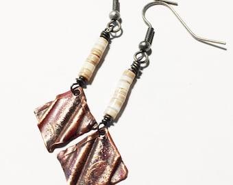 Etched Copper Earrings, Dangle Earrings - Free Domestic Shipping
