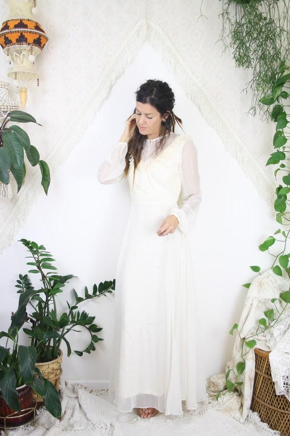 Vintage Brautkleid Elfenbein Spitze Chiffon 60er Jahre 70er