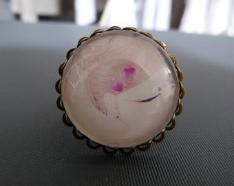 Girl flower cabochon ring