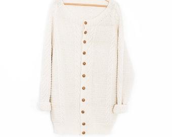 Oversized knit cardigan | Fisherman sweater | Cable knit | Cable knit cardigan | Knit fisherman's sweater | Papy oversize cardigan