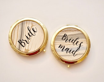 Personalized Compact Mirror - Rose Gold Compact Mirror | Gold Compact Mirror | Bridesmaid Compact Mirror | Bridesmaid Proposal Gift Box Idea