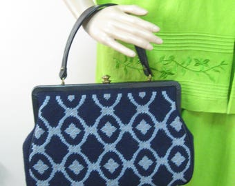 50's Large Size Needlepoint Handbag Purse with Blue & Gray Design on the Front and the Back Top Strap Handbag SEE Details FREE SHIPPING