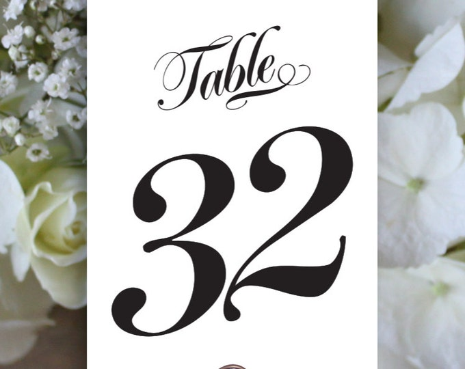 Printable Table Numbers 1 to 40, Rustic Table Number, Script Table Number, Downloadable, Print it yourself.