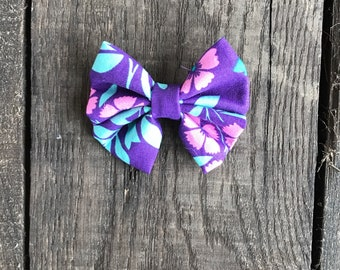 Spring purole pink teal floral girl/ baby Headband Hair bow