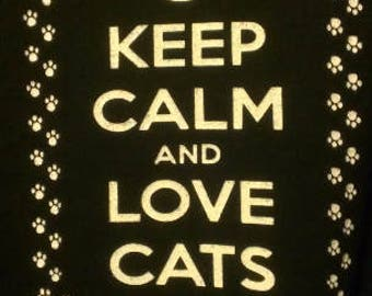 Babies and Toddlers Keep Calm and Love Cats Onesie or Tot's Tee in Size Newborn, 6 Months, 12 Months, T2, T3, & T4