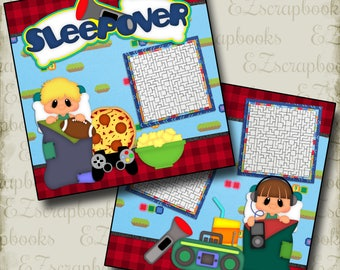 SLEEPOVER Boy - 2 Premade Scrapbook Pages - EZ Layout 491