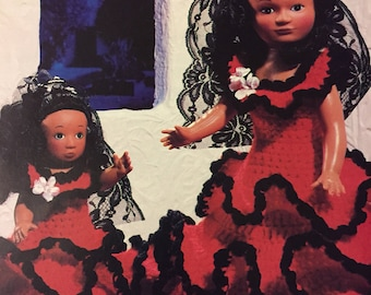 """Spanish Flamenco Doll Crochet  Pattern for 14"""" Mother and 8"""" Child Doll Making"""