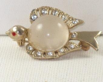 Vintage Moonglow Jelly Belly Rhinestone Bird Brooch Pin (TP-B-1-1)