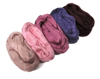 Mulberry Grade AA Silk roving palette, 3.5oz (100g) ,color: Pink/Purples