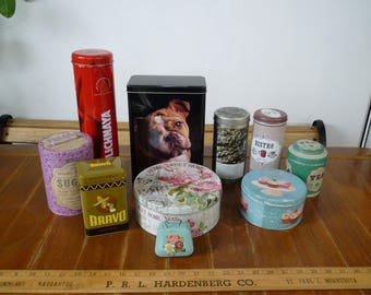 Lot 10,vintage & vintage style,kitchen tins,tea,coffee,sugar,cupcakes,dry dog food empty tins, old storage tins