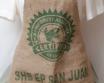 Reversible Burlap Coffee Bean Sack Apron with Strawberry Fabric