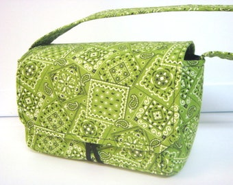 "Large 4""  Size Coupon Organizer Budget Organizer Holder Box  Attaches to Your Shopping Cart - Lime Green Bandana / 4"" READY TO SHIP"