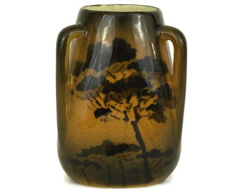 St Jean du Desert Pottery Vase with Trees. Small 3 Sided Brown Glazed Ceramic Vase with Handles. Vintage French Provence Souvenir & Gifts.