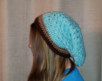 Turqouise and Brown Slouchy Beanie