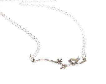Sterling Silver  Bird On A Branch  Pendant  , Sterling Silver Bird  Necklace  , Sterling Silver Chain