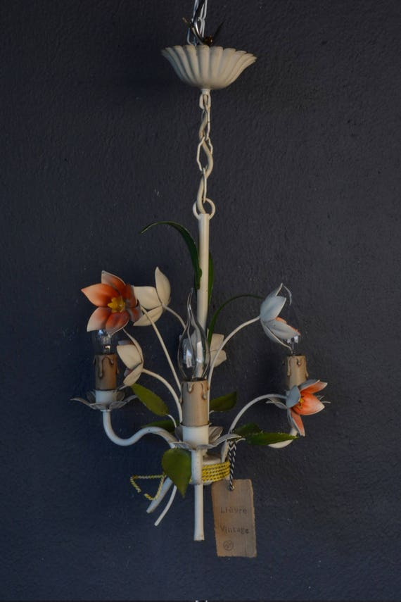 Small toleware chandelier with orange flowers