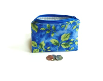 Change purse, green leaves blue cotton fabric zipper pouch coin bag clutch gift for her, business card holder