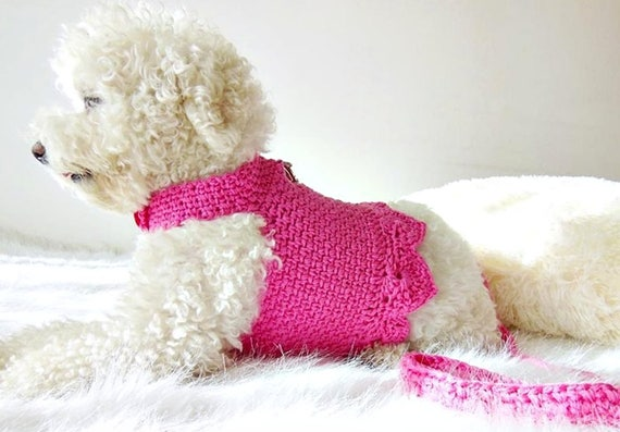 il_570xN.1431182610_8jmm?version=0 crochet dog harness dog dress small dog clothes harness and