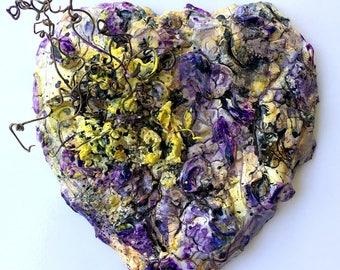 handmade original wood and plaster Heart, painted wall sculpture, purple, yellow, grapevine