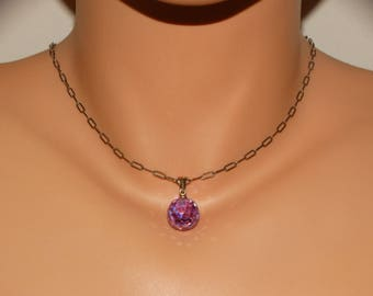 Vge Sterling Silver Lavender Faceted Glass Ball Pendant With 925 Hand Forged Chain.