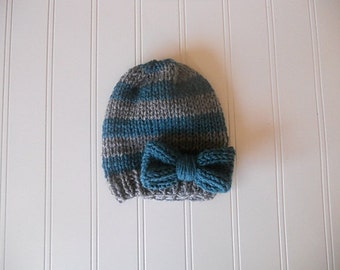 Hand Knitted Toddler Hat in Teal and Grey Stripes with or without Bow