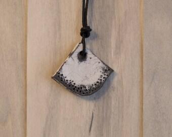 Raku pendant fan on leather cord