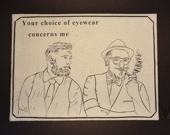 Hipsters in Conversation: Glasses Lino Print