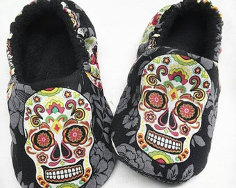 Skull Baby Slippers,Toddler Boys sugar skull Shoes,Day of the Dead,black shoes,Toddler slippers,Sugar skull Soft Sole,Dia de los Muertos