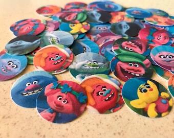Trolls Confetti - Trolls Party - 100 Pieces 1 Inch Round - Birthday Confetti -  Cupcake Toppers
