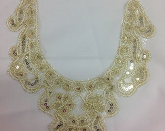 Gold blouse collar with sequins