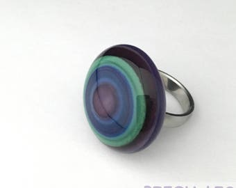 Circles Homemade Artisinal Lampwork Bead Cabochon/Ringtop for Interchangeable ring/pendant.