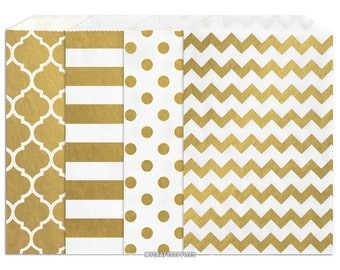 150  Assorted Gold Metallic Paper Bags, 5 x 7.5 Inch Flat Paper Bags, 25 Each Moroccan Window, Stripe, Polka Dots, Chevron