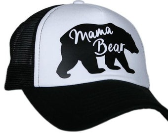 Mama Bear White Hat with Black Mesh Back
