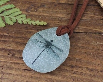 Dragonfly Sea Glass Necklace, Sea Glass pendant, Suede leather necklace.