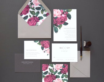 Harlow Wedding Invitation & Correspondence Set / Painterly Florals and Contemprorary Gray Accents / Sample Set