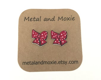 Polka Dot Bow Stud Earrings, Bow, Under 10 Dollars, Jewelry Gift