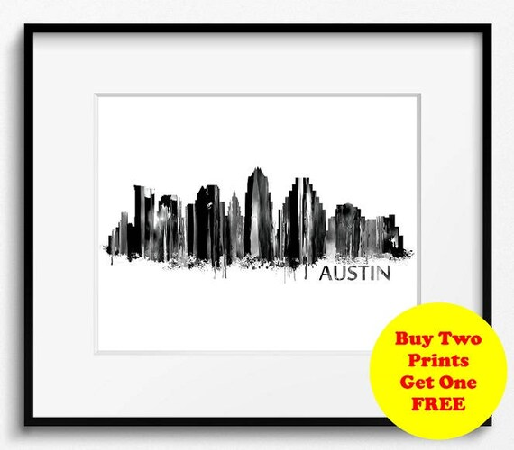Austin Skyline Watercolor Black and White Art Print