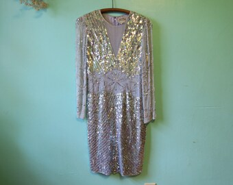 Vintage 80s Kathryn Conover by Night SEQUIN PARTY DRESS size 6 small embellished mesh silk mini New York bridal couture