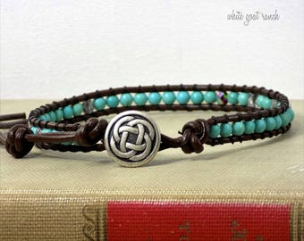 Anklet, Leather Anklet, Chocolate Brown Leather, Turquoise and Crystal, Irish, Celtic Knot, Boho Jewelry