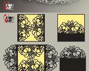 Jb 885 etsy 4 floral lace card templates digital cut svg dxf files wedding invitation stationery laser cuttable download silhouette cricut jb 885c stopboris Choice Image
