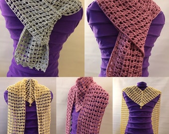 SAMPLE SALE>Crochet V Scarf with Bead Pendant, Neck Warmer Scarf, Light Weight Scarf, Worn year round.