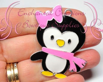 """2"""" Girly Penguin With Pink Bow and Scarf, Winter Theme Chunky Pendant, Keychain, Bookmark, Zipper Pull, Jewelry, Purse Charm"""