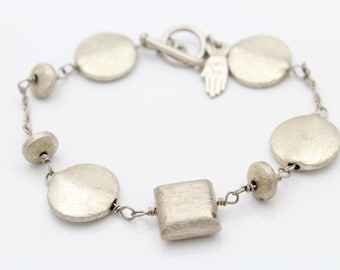 """Chunky Geometric Shapes 7.5"""" Textured Bracelet by Handpicked in Sterling Silver. [9679]"""