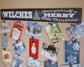 Custom Last Name Card Display Holder - Personalized Card Hanger - Merry Mail - Christmas Card Holder - Christmas Card Hanger